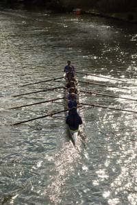 M2 glisten in the sun as they row over